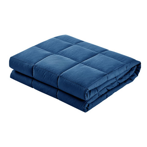 Image of Weighted Blanket Adult 5KG Heavy Gravity Blankets Microfibre Cover Glass Beads Calming Sleep Anxiety Relief Navy Blue