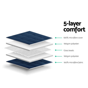 Weighted Blanket Adult 5KG Heavy Gravity Blankets Microfibre Cover Glass Beads Calming Sleep Anxiety Relief Navy Blue