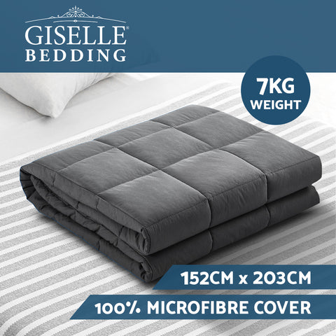 Weighted Blanket Adult 7KG Heavy Gravity Blankets Microfibre Cover Glass Beads Calming Sleep Anxiety Relief Grey