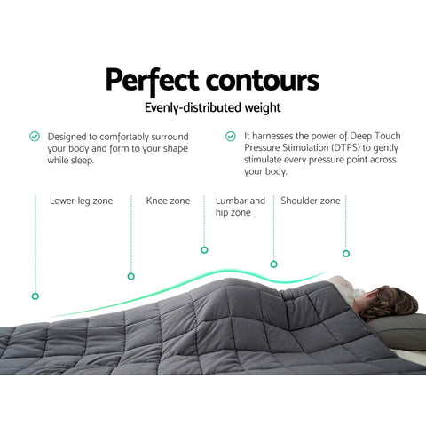 Image of Weighted Blanket Adult 7KG Heavy Gravity Blankets Microfibre Cover Glass Beads Calming Sleep Anxiety Relief Grey