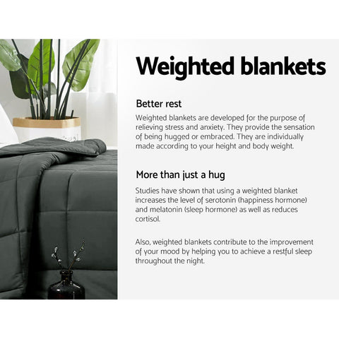 Image of Giselle Bedding 7KG Cotton Weighted Blanket Deep Relax Sleeping Gravity Adult Black