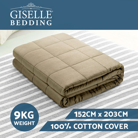 Image of Giselle Bedding 9KG Cotton Gravity Weighted Blanket Deep Relax Calm Adult Brown