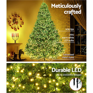 Jingle Jollys 2.4M 8FT Christmas Tree Xmas 3190 LED Lights Warm White 1436 Tips