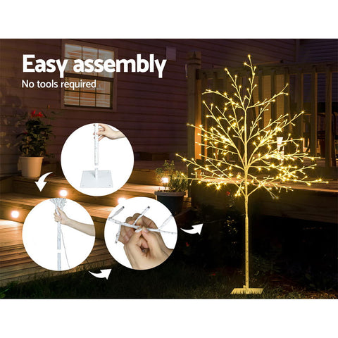 Image of Jingle Jollys 1.5M LED Christmas Branch Tree 304 LED Xmas Warm White Optic Fiber