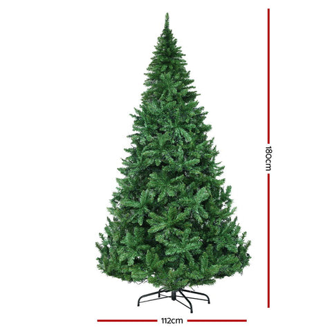 Image of Jingle Jollys 1.8M 6FT Christmas Tree 874 LED Lights 874 Tips Warm White Green