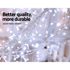 Jingle Jollys 6X3M Christmas Curtain Fairy Lights String 600LED Party Wedding CW