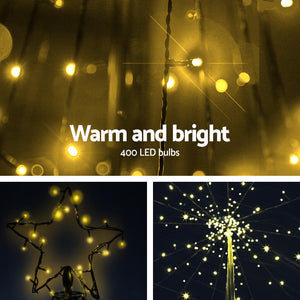 Jingle Jollys 3.6M LED Christmas Tree Lights Xmas 400pc LED Warm White Optic Fiber