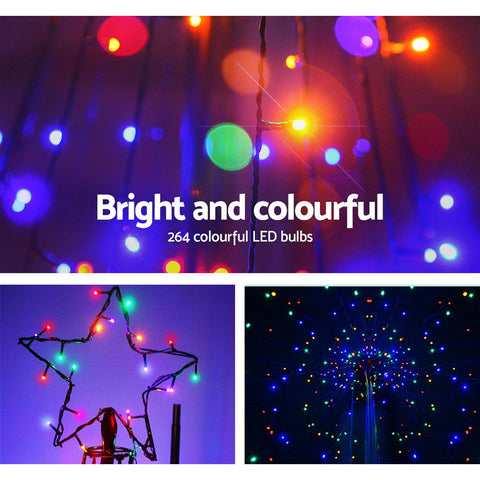 Image of Jingle Jollys 2.1M LED Christmas Tree Lights Solar Xmas Multi Colour Optic Fiber