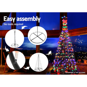 Jingle Jollys 2.1M LED Christmas Tree Lights Solar Xmas Multi Colour Optic Fiber
