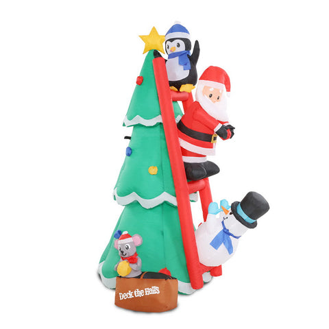 Image of Jingle Jollys Inflatable Christmas Tree Santa 1.8M Decorations Outdoor LED Light