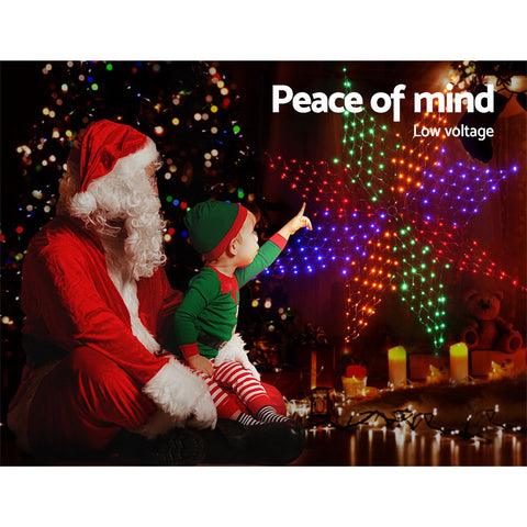 Image of Jingle Jollys Christmas Motif Lights LED Star Net Waterproof Outdoor Colourful