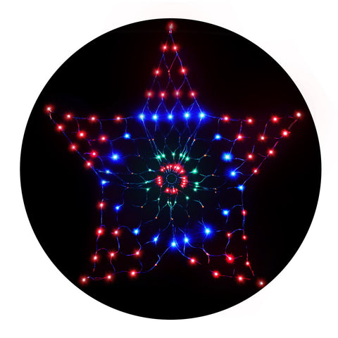 Image of Jingle Jollys Christmas Lights Motif LED Star Net Waterproof Outdoor Colourful