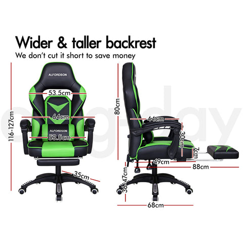 ALFORDSON Gaming Office Chair Racing Executive Padding Footrest Computer Seat PU Leather - Black Green