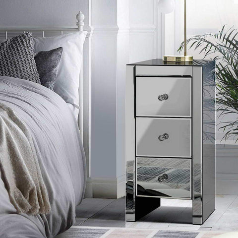 Image of bedside table glass grey