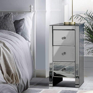 bedside table glass grey