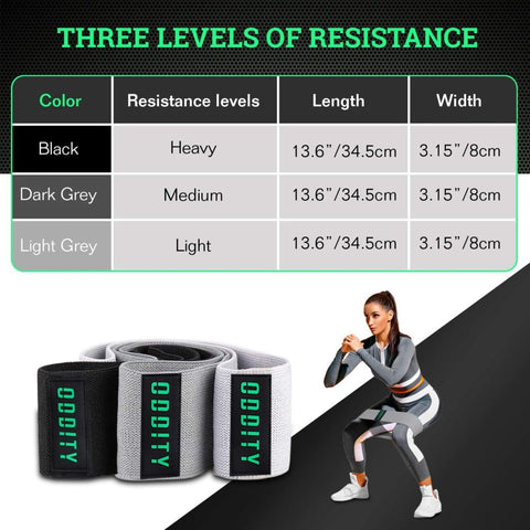 Booty Bands-Premium Fabric Resistance Bands- Set of Three with Varied Resistance Levels and Travel Bag