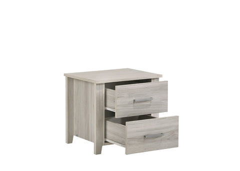 Image of 2 Drawers Bedside Table In White Oak