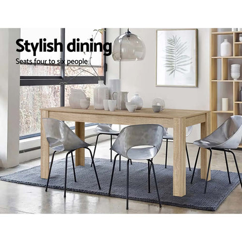Image of Artiss Dining Table 6-8 Seater Wooden Kitchen Tables Oak 160cm Cafe Restaurant