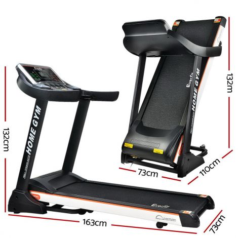 Everfit Electric Treadmill 45cm Incline Running Home Gym Fitness Machine Black - TITAN45-AUTO
