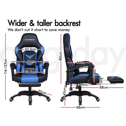 ALFORDSON Gaming Office Chair Racing Executive Padding Footrest Computer Seat PU Leather - Black Blue