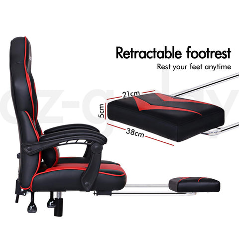 ALFORDSON Gaming Office Chair Racing Executive Padding Footrest Computer Seat PU Leather - Black Red