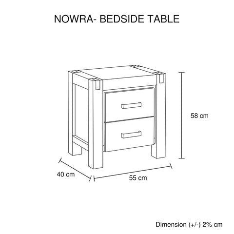 Image of Nowra 2 Drawer Bedside Table