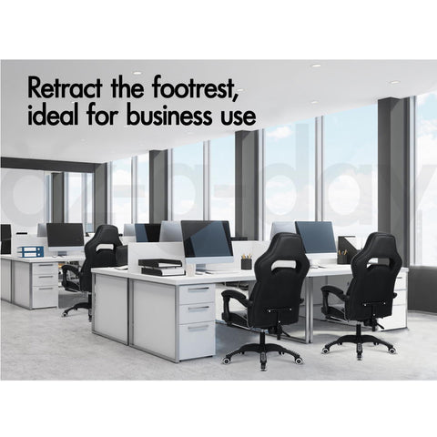 ALFORDSON Gaming Office Chair Racing Executive Padding Footrest Computer Seat PU Leather  Afterpay - Black Grey