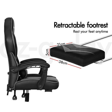 Image of ALFORDSON Gaming Office Chair Racing Executive Padding Footrest Computer Seat PU Leather  Afterpay - Black Grey