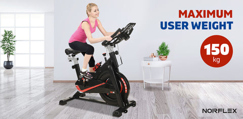 Image of Norflex Spin Bike Exercise Ball Flywheel Fitness Commercial Home Workout Gym - Bonus Fitness Tracker