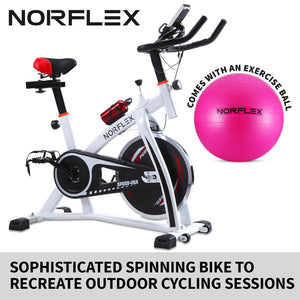 Norflex Spin Bike Exercise Ball Flywheel Fitness Commercial Home Workout Gym White