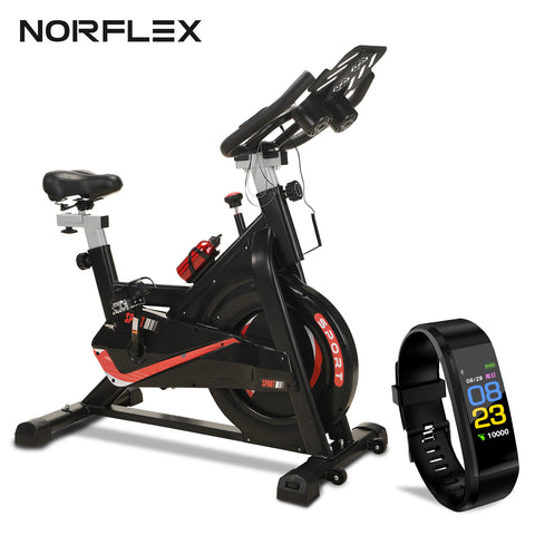 Norflex Spin Bike Exercise Ball Flywheel Fitness Commercial Home Workout Gym - Bonus Fitness Tracker