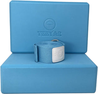 yoga block and strap blue
