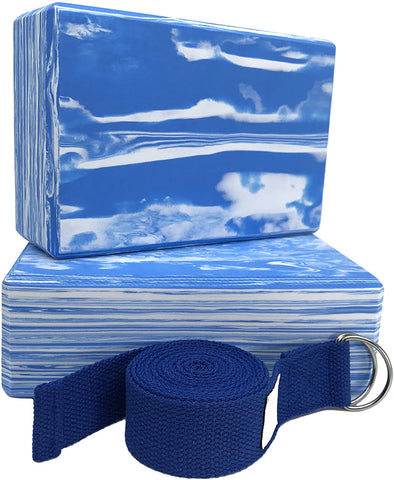 yoga block and strap camo blue