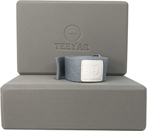 yoga block and strap grey