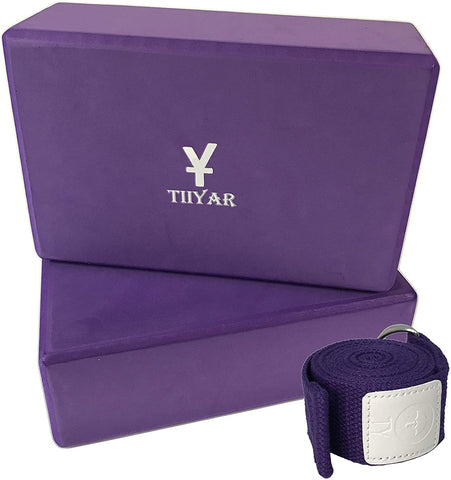 Image of yoga block and strap purple