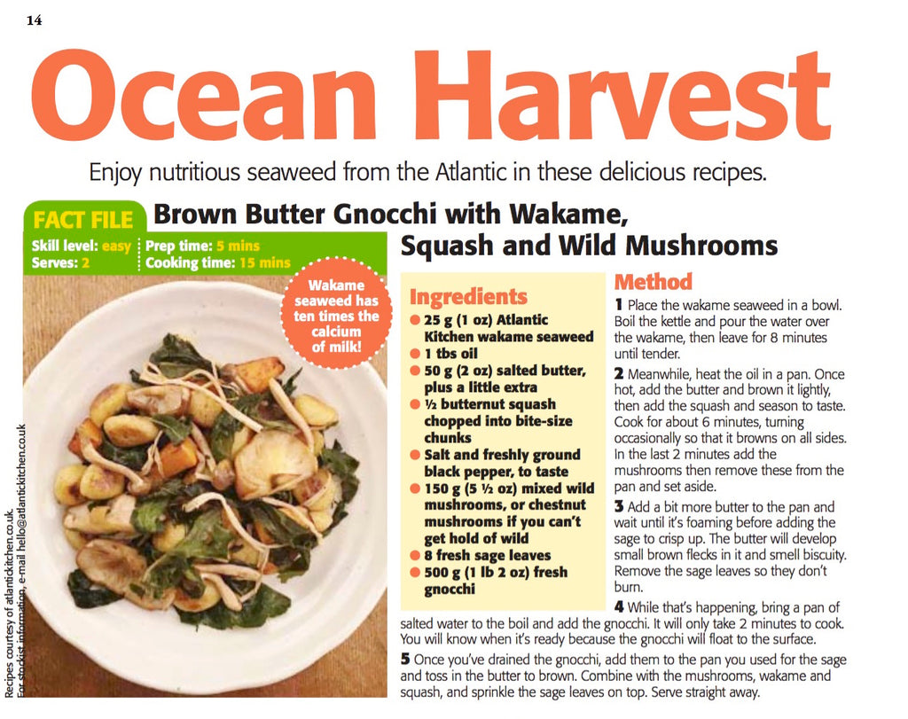 Four recipes using Atlantic Kitchen Seaweed published by The People's Friend
