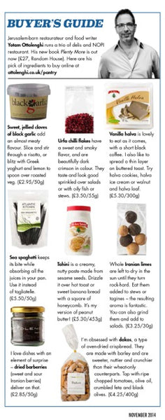 Yotam Ottolenghi choses his top favourite unusual ingredients available in his online store, including sea spaghetti seaweed for Olive magazine in November 2014