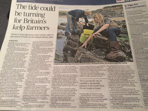 Article in The Telegraph's Finance News in October 2014, reporting that the 'tide is turning' for British seaweed startups. By Nicole Green.