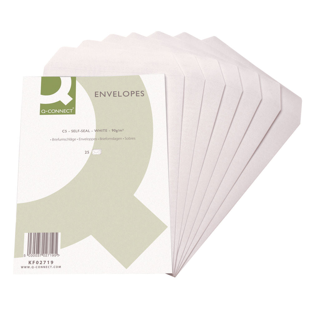 Q-Connect C5 Envelopes Pocket Self Seal 90gsm White