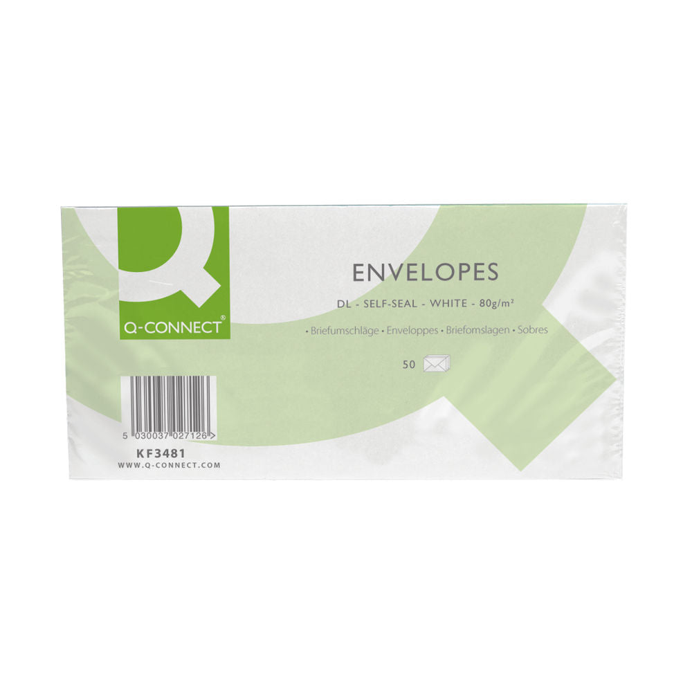 Q-Connect DL Envelopes Plain Wallet Self Seal 80gsm White (Pack of 50)
