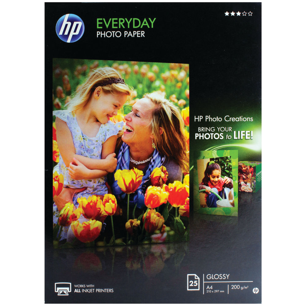 HP A4 White Everyday Glossy Photo Paper 200gsm (Pack of 25)