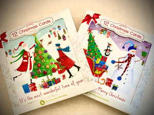 Fun Christmas Cards - 12x Cards - 2x designs
