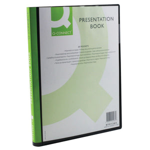 Q-Connect Presentation Display Book 20 Pocket A4 Black