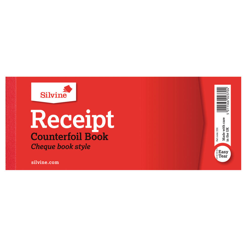 Silvine Receipt Book with Counterfoil 80x202mm