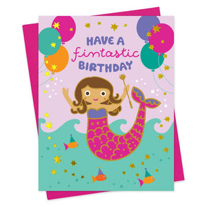 Mermaid Foil Stamped Birthday Card