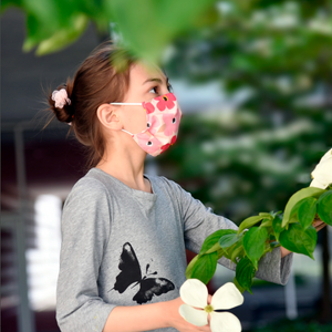 Kid's Face Mask - Pink Poppies
