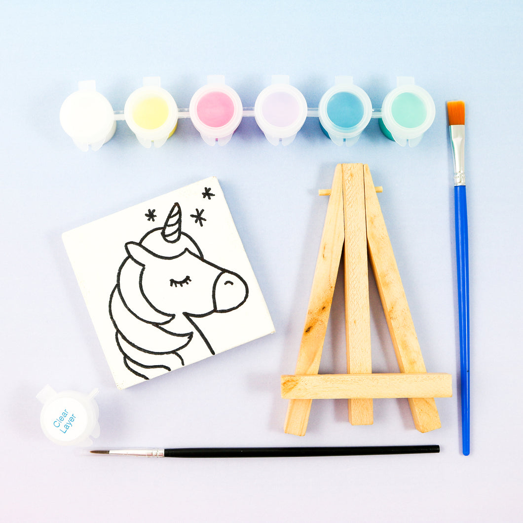 Unicorn Mini Painting Kit with Easel - Party Favor