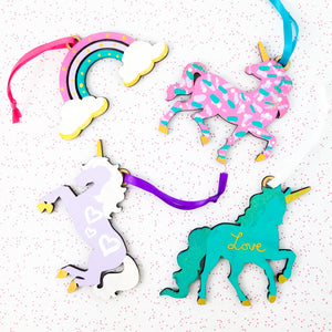Sparkle Unicorn Ornaments