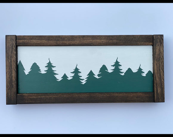 "Christmas Trees Landscape 11.5"" x 5"" Mini Wood Sign"
