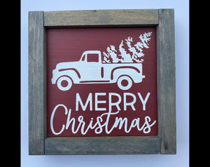 "Merry Christmas Classic Truck  7""x7"" Mini Wood Sign"